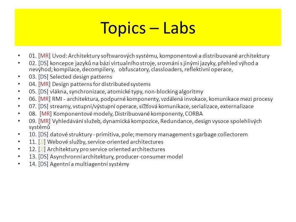 Topics – Labs 01. [MR] Uvod: Architektury softwarových systému, komponentové a distribuované architektury.
